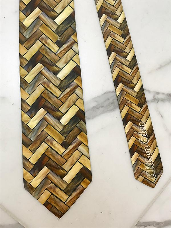 Allison Eden Studios- chocholate herringbone mosaic neckties