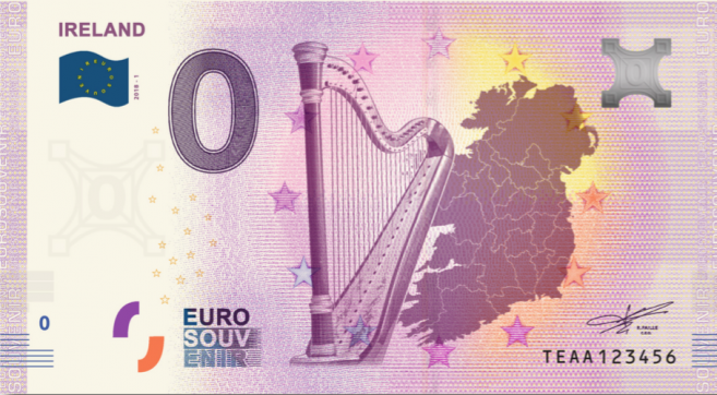 Ireland's first '0 Euro banknote' with celtic harp