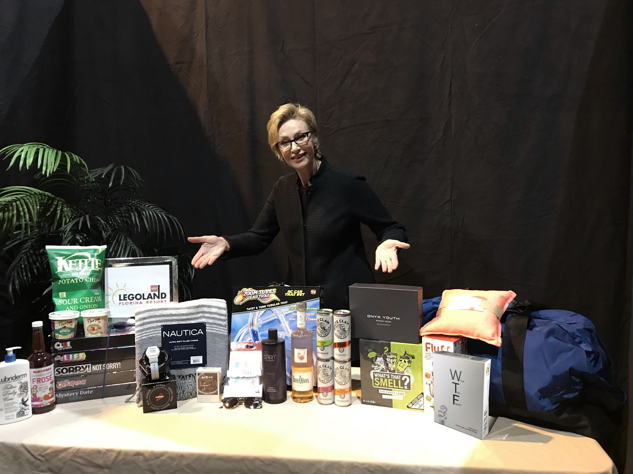 Jane Lynch with What The Film?! in the gift bags at NBC's Hollywood Game Night