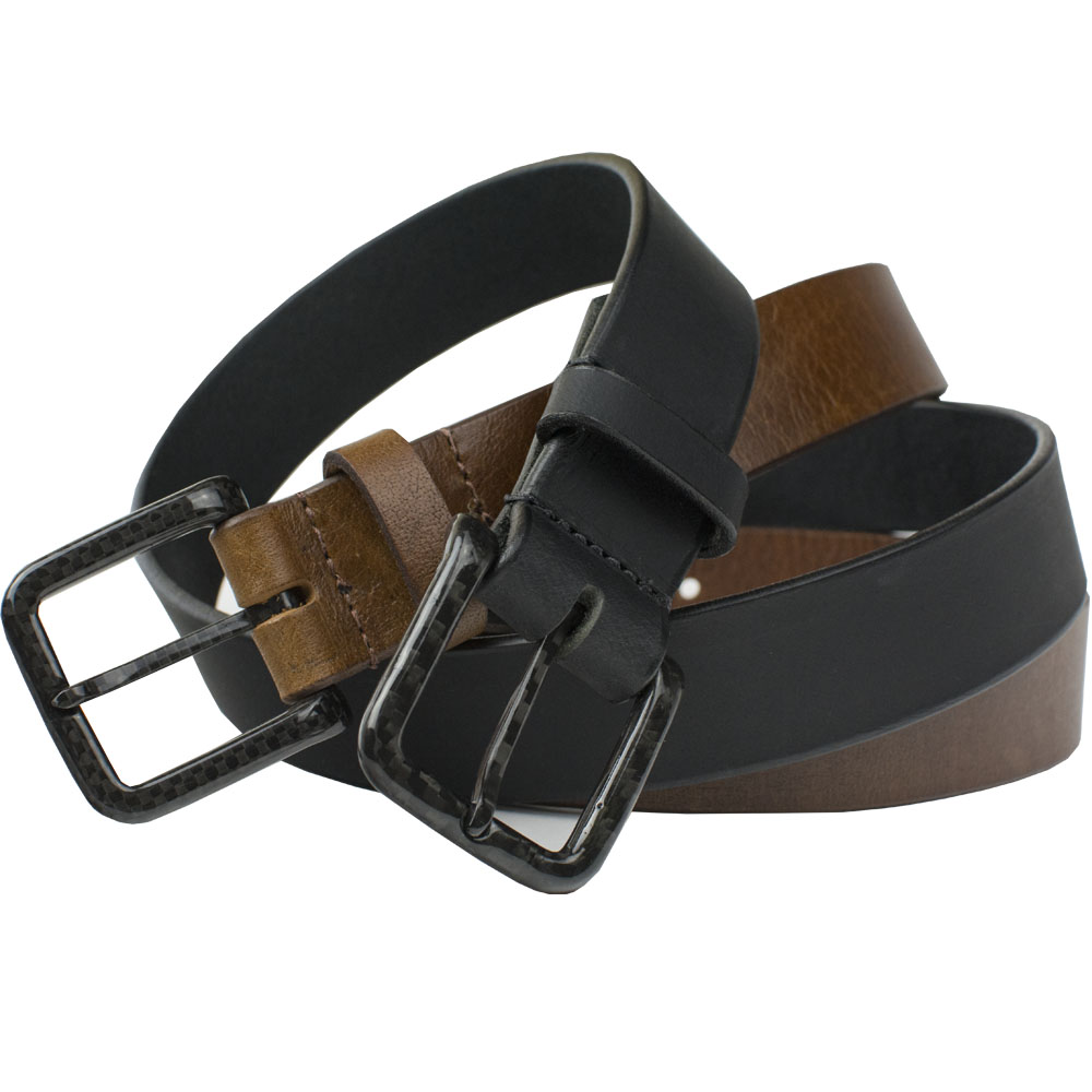 The Specialist Belt Set - carbon fiber pin buckles on leather straps