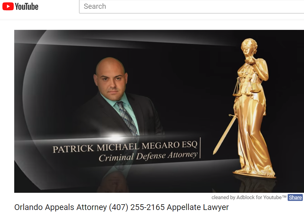 Video Appeals Attorney Patrick Megaro YouTube Vide